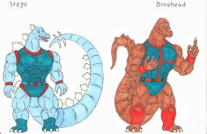 Dinosaucers Upgrade 3 Stego, Bonehead. by darkcolorfulspots