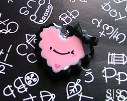Pink Black Heart Charm by y2687
