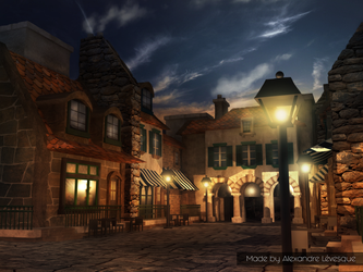 3D French bakery street by HappyWasabii