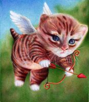 Cupid Kitten - Ballpoint Pen - St Valentine's Day by VianaArts