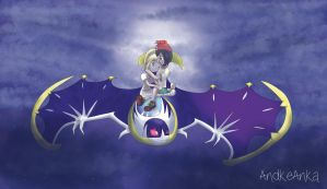 Moon x Lillie Flying on Lunala