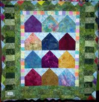 batik house quilt top complete by wiccanwitchiepoo