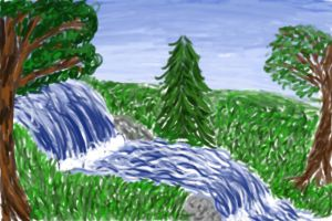 Waterfall Scene by ezo