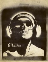 Skull and Headphones Stencil by hiddenmoves