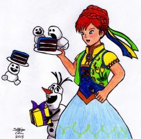 Frozen Fever: Anna, Olaf, and Snowgies by Rocket-Stevo