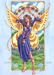Art Nouveau Summer Time Fairy by lady-cybercat