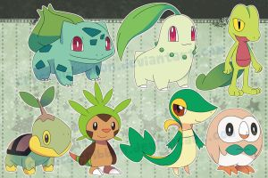 Pokemon grass starters - stickers by Crystal-Ribbon