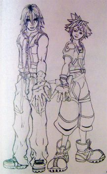 Riku and Sora by visionsofJellyfish