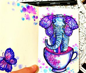 Would you like some Elephant in your Tea? by AlulaDreamsArt