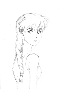 Asuka looking over shoulder (rough sketch) by trillionvermillion