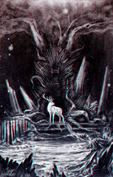 White deer and Iron Throne by HoroCat