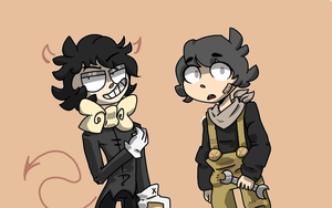 Bendy and Boris (as humans) by Mogry331