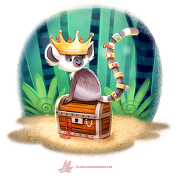 Daily Paint #1209. Ring Tail Lemur by Cryptid-Creations