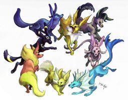Circle of Eevees by LynxGriffin