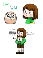 Chara and Rowlet by IceColdInsanity
