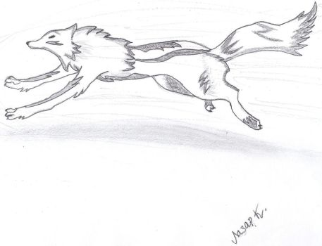 Wolf running free by Pearcezp