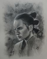 Rey drawn in charcoal by JonARTon