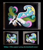 11 x 14 2015 Everfree Exclusive Celestia Shadowbox by The-Paper-Pony