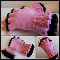Pink and Black Ruffled Gloves by StrangeKnits