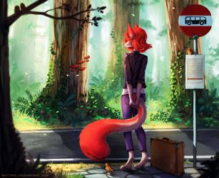 At the Bus Stop by Neytirix