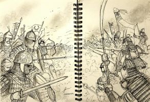 Saracen vs Samurai - A Historically Wrong Sketch by Gambargin