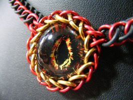 Fire Eye Stretchy Necklace by BacktoEarthCreations