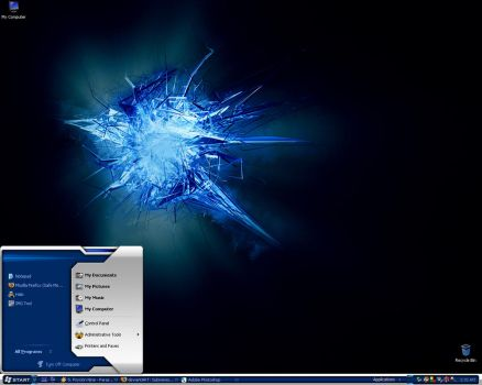 Blue and Silver Theme Desktop by Zer0Undead