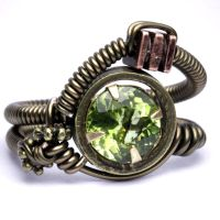 Peridot steampunk Ring by CatherinetteRings