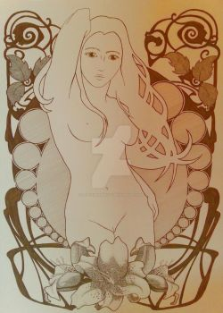Art Nouveau Woman Nude by LadyNinkharsag