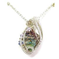 Bismuth and Swarovski Crystal Wire-Wrapped Pendant by HeatherJordanJewelry