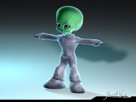 Little Green Dude - Alien for Commercial Project by JWraith