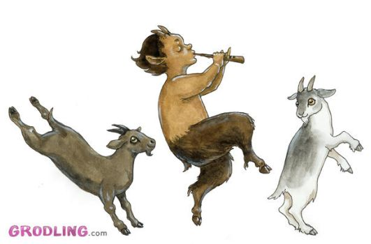 Young faun with goats by liselotte-eriksson