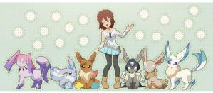 commission : Sayuri with Eeveelutions by pink-hudy