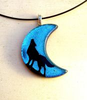 Howling Wolf Moon Fused Glass Pendant by FusedElegance