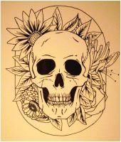 Skull and Flowers tattoo by happy-smiley-robot