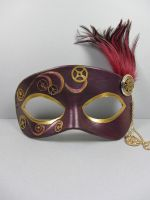 Steampunk leather masquerade mask in burgundy by maskedzone