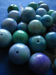 handmade beads blue set by veydara
