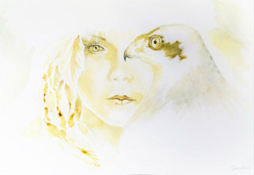 Girl with bird, coffee painting by CORinAZONe