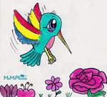 Hummingbird  in Blooms by MeMiMouse
