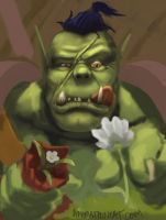 Orc gathering flowers by waronmars
