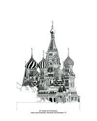 St. Basil's Cathedral - One Line Drawing - 16 x 20 by SlotsArtStudio