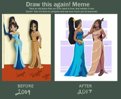Draw This Again: Jasmine and Pocahontas by superjay15
