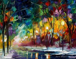Winter night by Leonid Afremov by Leonidafremov