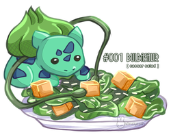 [FA] 001 Bulbasaur - Caesar Salad by adorablysquish
