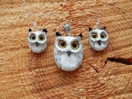 Set Eagle owls earrings and pendant by koshka741