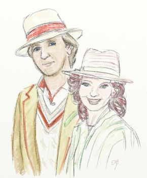 Team Nerd in Spiffy Hats (Fifth Doctor and Nyssa) by Circular-Time