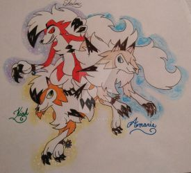 Pokemon Sun and Moon Lycanroc forms by Monse2001