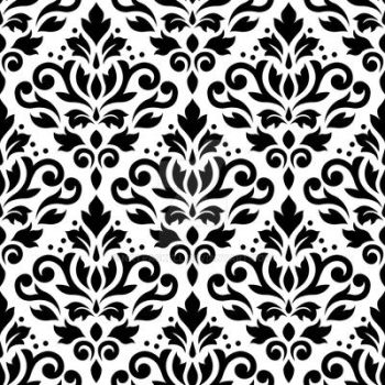 Scroll Damask Pattern Black on White by NatPaskell