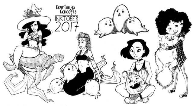 Inktober 2017 - Day 16 - 20 - Traditional Ink Draw by CourtneysConcepts