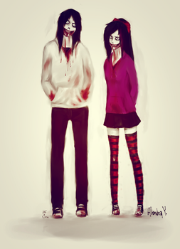 Jeff the killer and  Nina the killer by Aanime-AartG